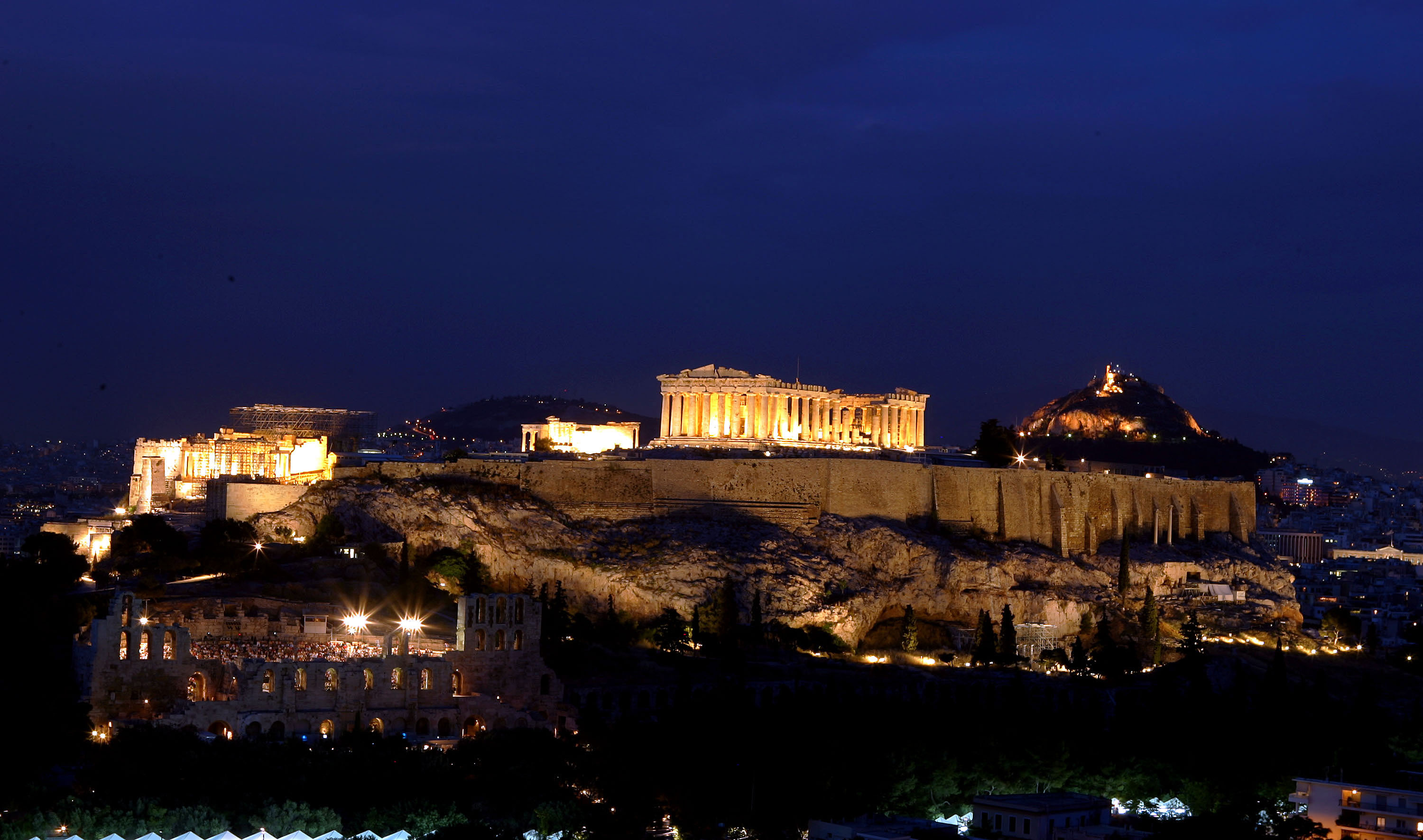 Lighting of the Acropolis of Athens and Lycabettus Hill